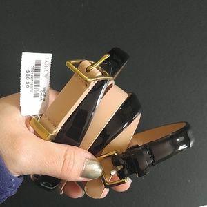 2 j crew skinny leather belts SMALL NUDE BLACK